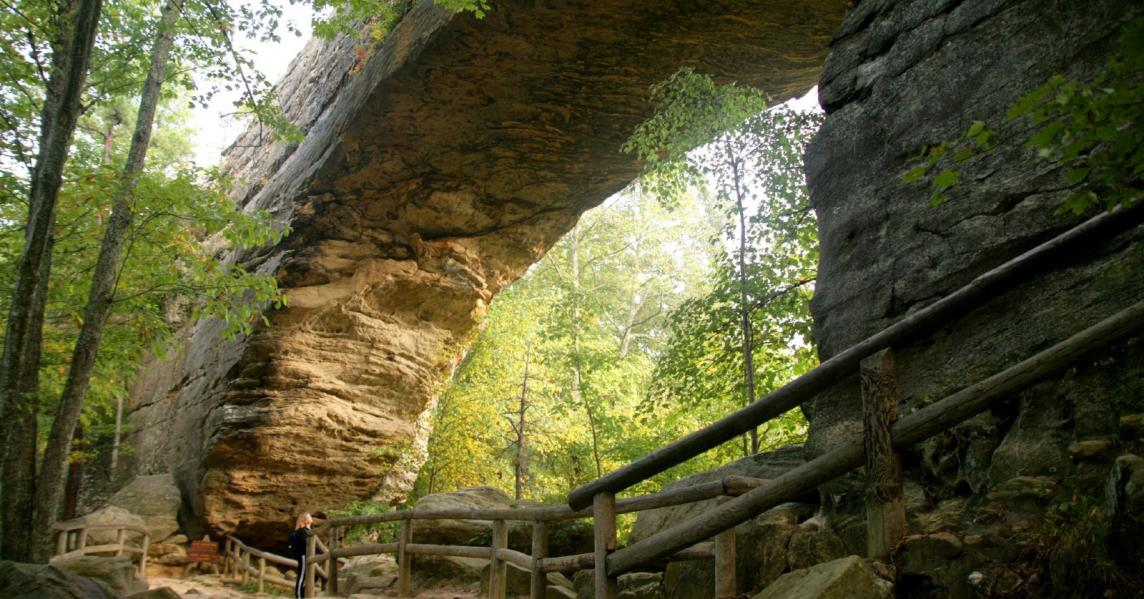 A view of Natural Bridge from a hiking trail below