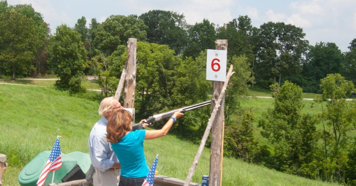 A couple skeet shooting in Kentucky