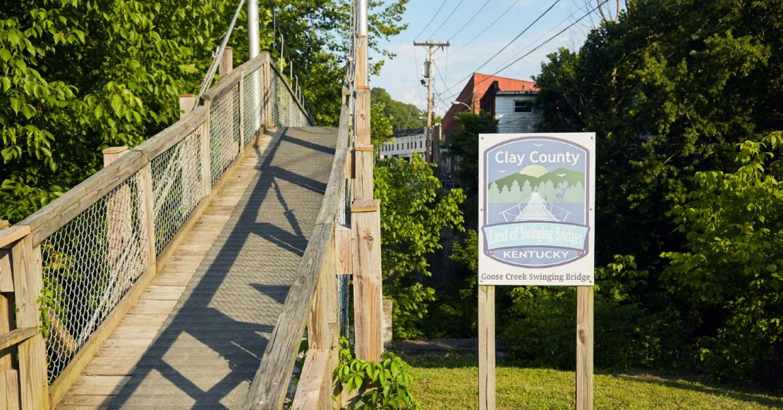 A swinging bridge in Manchester, Kentucky