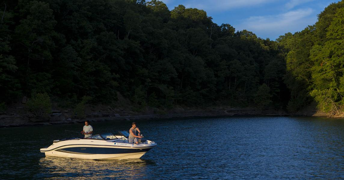Fishing from a boat in Lake Cumberland, Kentucky