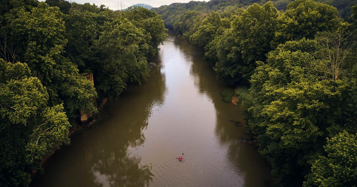 Kayaker in Munfordville, Kentucky