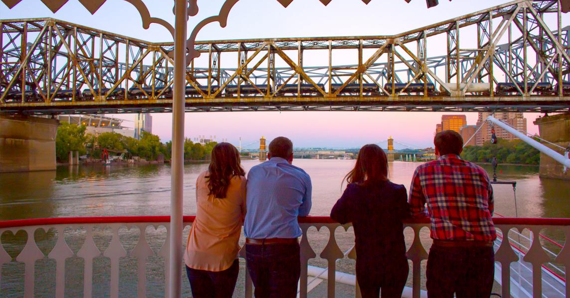 two couples on riverboat on date