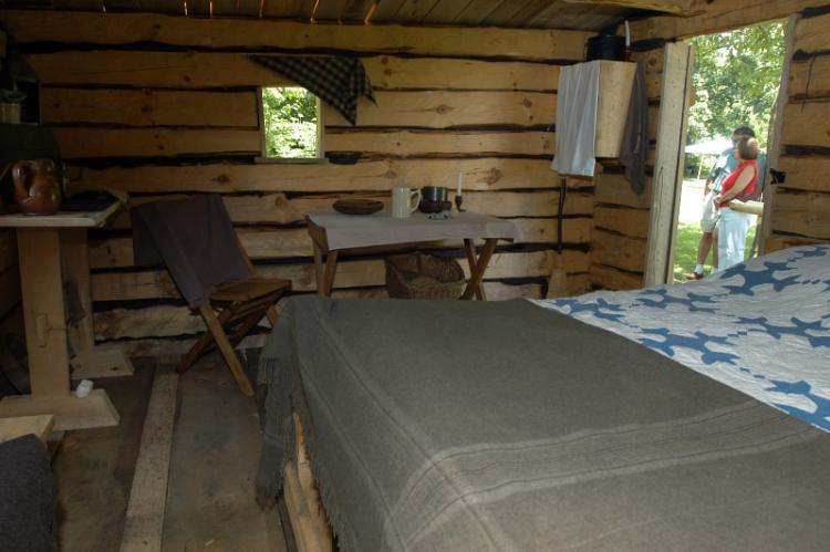 Interior of a historic cabin at Lincoln Homestead State Park