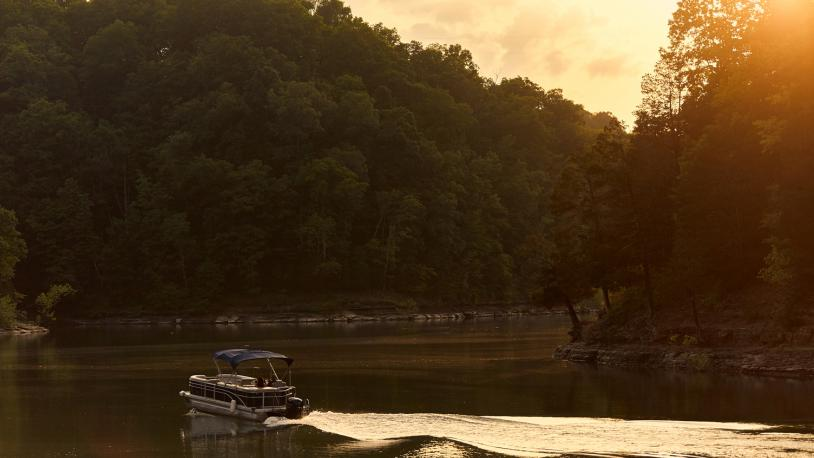 boat on Lake Cumberland at sunset