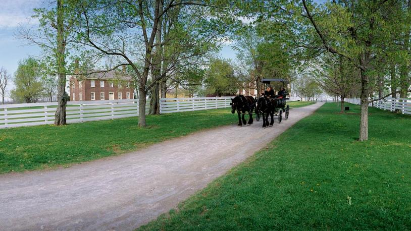A horse-drawn carriage travels a dirt road at Shaker Village of Pleasant Hill