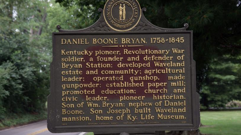 Close-up of a Daniel Boone historic marker at Waveland in Kentucky