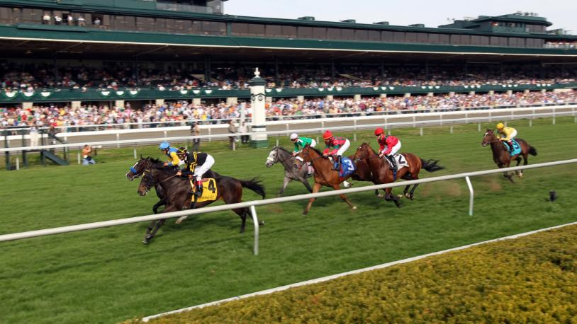 Horses race down a grass field at Keeneland Race Track in Lexington, KY