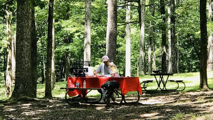 Picnic tables at Mammoth Cave National Park