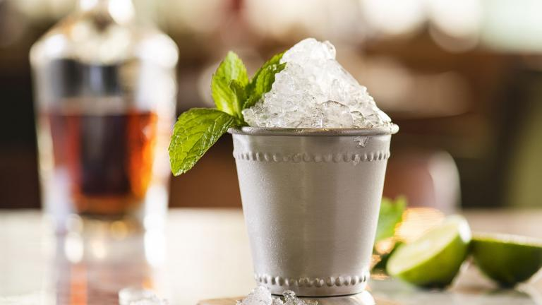 Mint julep in a silver cup
